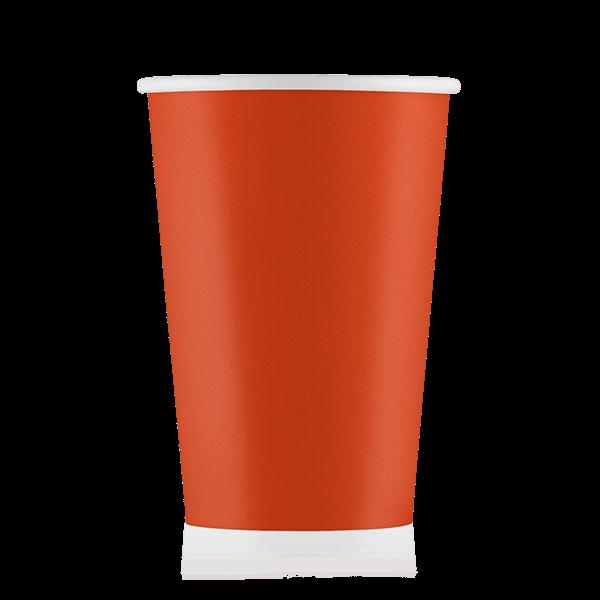Стакан бумажный оранжевый 400 мл