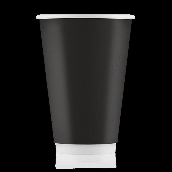 Стакан бумажный чёрный 500 мл двойная стенка