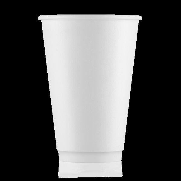 Стакан бумажный белый 500 мл двойная стенка