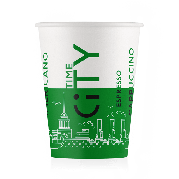 Стакан бумажный дизайн-City Зеленый 250 мл