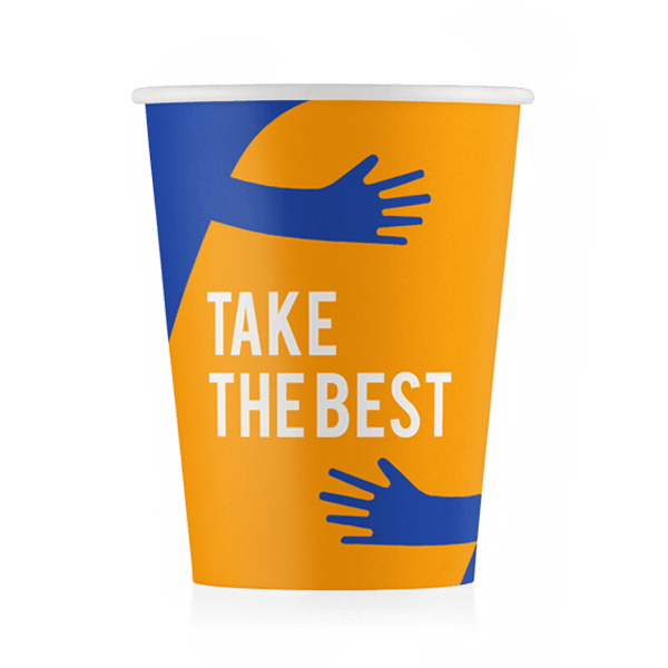 Стакан бумажный дизайн-Take the best Синий 250 мл