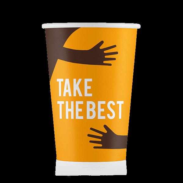 Стакан бумажный дизайн-Take the best Коричневый  400 мл